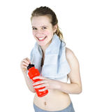 Happy fit girl working out Stock Photos