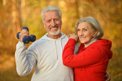 Happy fit senior couple exercising Royalty Free Stock Images