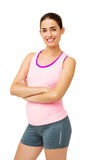 Happy Fit Woman Standing Arms Crossed Royalty Free Stock Image