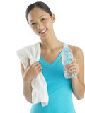 Happy Fit Woman With Towel And Water Bottle Stock Photos
