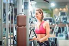 Happy fit woman wearing pink fitness bra while exercising. Happy and beautiful fit woman wearing pink fitness bra while exercising cable rope triceps extension Royalty Free Stock Image