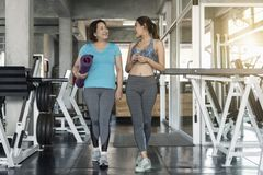 Happy fitness couple senior and young woman holding yoga mats an. Happy fitness couple senior and young women holding yoga mats and walking in class of fitness royalty free stock photos