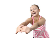 Happy fitness dance class woman dancing. Happy fitness dancing. Woman dancer cheerful, happy and smiling with arms raised. Asian / Caucasian fitness model Royalty Free Stock Photos