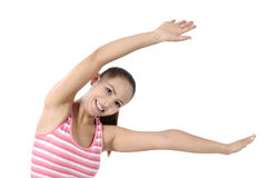 Happy fitness dance class woman dancing. Happy fitness dancing. Woman dancer cheerful, happy and smiling with arms raised. Asian / Caucasian fitness model Stock Images