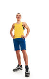 Happy fitness man. full length. Portrait of a athletic man. full length over a white background royalty free stock image