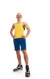 Happy fitness man. full length Royalty Free Stock Image