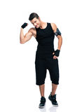Happy fitness man showing his biceps Stock Photography