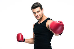 Happy fitness man standing with red boxing gloves Royalty Free Stock Photo