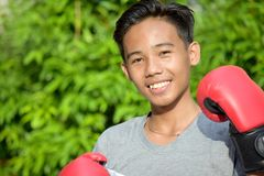 Happy Fitness Minority Person Wearing Boxing Gloves. An attractive and asian person stock images