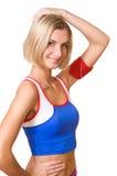 Happy fitness trainer stock photos
