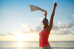 Happy fitness woman celebrating summer workout success Royalty Free Stock Images