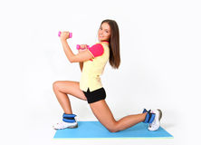 Happy fitness woman isolated Royalty Free Stock Image