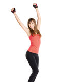 Happy fitness woman isolated on white background. Royalty Free Stock Image