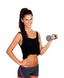 Happy fitness woman lifting dumbbells Stock Image