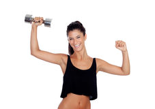 Happy fitness woman lifting dumbbells Royalty Free Stock Photo