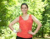 Happy fitness woman outdoors Royalty Free Stock Photography