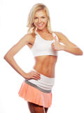 happy fitness woman showing thumb up Royalty Free Stock Image