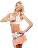 happy fitness woman showing thumb up Royalty Free Stock Images