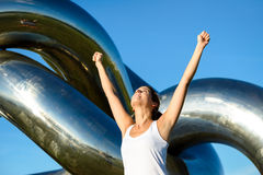 Happy fitness woman success Stock Photography