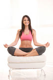 Happy Fitness Woman In Yoga Posture Stock Image