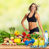 Happy fitness woman. stock photos