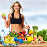 Happy fitness woman. stock images