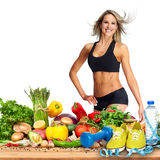 Happy fitness woman. royalty free stock image