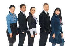 Happy five business people in a line Stock Photography