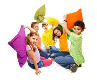 Fighting with pillows, so much fun Stock Photography