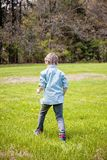 Boy in grass outside picking flowers. Happy five year old boy standing in green grass outside picking yellow dandelions royalty free stock image