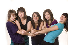 Happy five young friends Royalty Free Stock Images