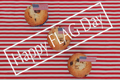 Happy flag day background. Cute cupcakes with american flag, Happy flag day background Stock Photography