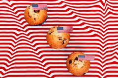 Happy flag day background. Cute cupcakes with american flag, Happy flag day background Royalty Free Stock Photography