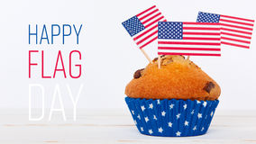 Happy flag day background. Cute cupcakes with american flag on white background Stock Photos