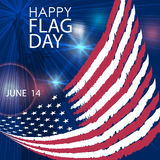 Happy Flag Day greeting card. June 14. Vector. Stock Photo
