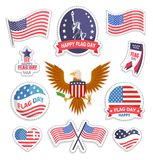 Happy Flag Day National American Holiday Banner. Vector illustration isolated on white USA symbolism on stickers and hearts, eagle mascot with shield stock illustration