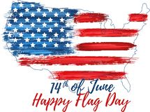 Happy flag day 14th of June. United states of America day greeting card. American flag symbol with paint brush strokes. National patriotic and political royalty free illustration