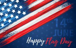 Happy flag day 14th of June. United states of America day greeting card. American flag symbol with paint brush strokes. National patriotic and political stock illustration