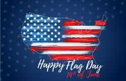 Happy flag day 14th of June. United states of America day greeting card. American flag symbol with paint brush strokes. National patriotic and political vector illustration