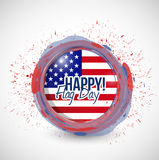 Happy flag day us ink stamp illustration Stock Image