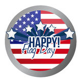 Happy flag day us shield illustration design Stock Image