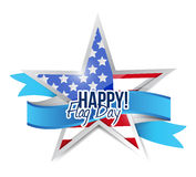 Happy flag day us star and ribbon illustration Royalty Free Stock Photo