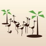 Happy flamingo family. Stylish vector illustration of flamingo family stock illustration