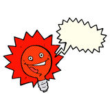 Happy flashing red light bulb cartoon  with speech bubble Royalty Free Stock Images