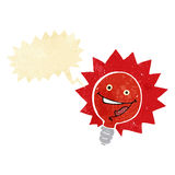 Happy flashing red light bulb cartoon  with speech bubble Royalty Free Stock Photo