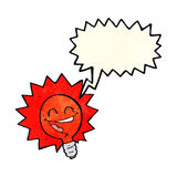Happy flashing red light bulb cartoon  with speech bubble Stock Photos