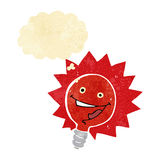 Happy flashing red light bulb cartoon  with thought bubble Stock Photography
