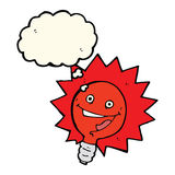 Happy flashing red light bulb cartoon  with thought bubble Royalty Free Stock Image