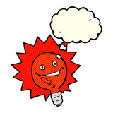 Happy flashing red light bulb cartoon  with thought bubble Royalty Free Stock Photos