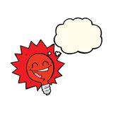 Happy flashing red light bulb cartoon  with thought bubble Royalty Free Stock Photo